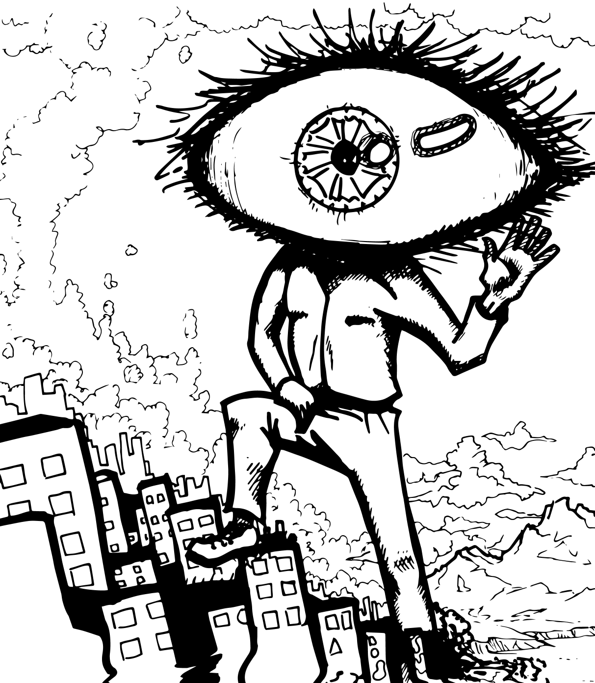 Big Eye is comming vector noir et blanc